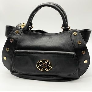 Emma Fox Black Leather Stud Crossbody Bag NWOT